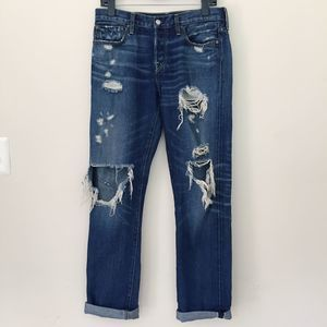 Levi's Ripped Distressed 501 Blue Boyfriend Jeans